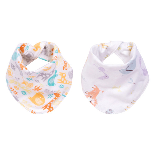 Reversible Flannel Bandana Bib Set - Mint Jungle