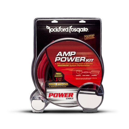 Rockford Fosgate RFK4D 4 gauge power, ground and signal installation kit for 2 amps