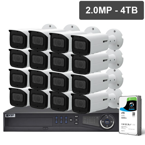 VIP Vision NVRKIT-P1624F Pro Series 16 Camera 2.0MP IP Surveillance Kit (Fixed, 4TB)