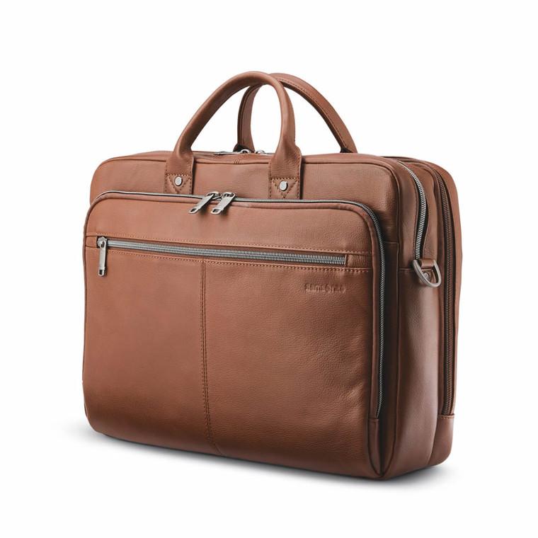 "Samsonite Classic Leather Toploader (15.6"") - Cognac"