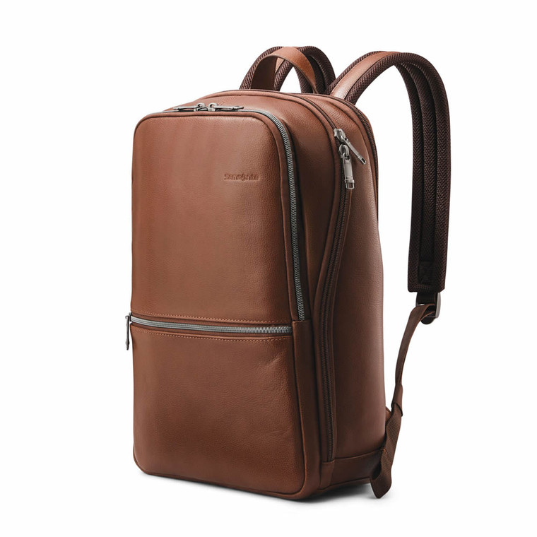 "Samsonite Classic Leather Slim Backpack (14.1"") - Cognac"