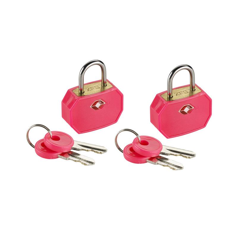 Lewis N Clark TSA Keylock - Mini Padlock (2 Pack) - Pink