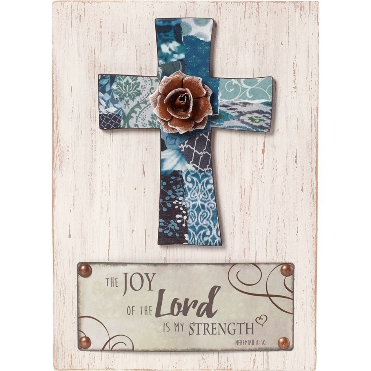 Farmhouse Décor The Joy Of The Lord Is My Strength Wall Plaque Wood Metal 189913