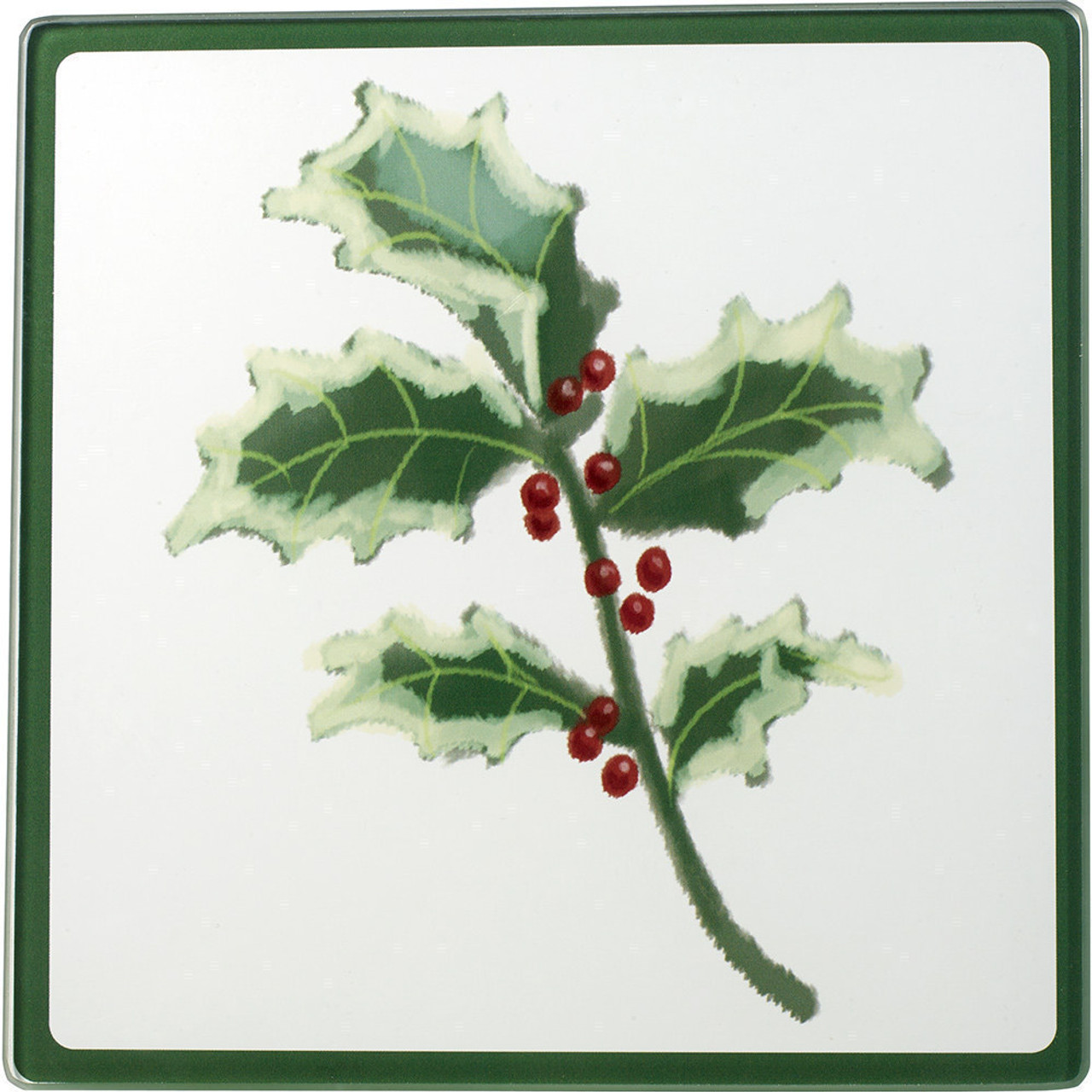 Celebrations Christmas Holly Glass Cutting Board Trivet 171527
