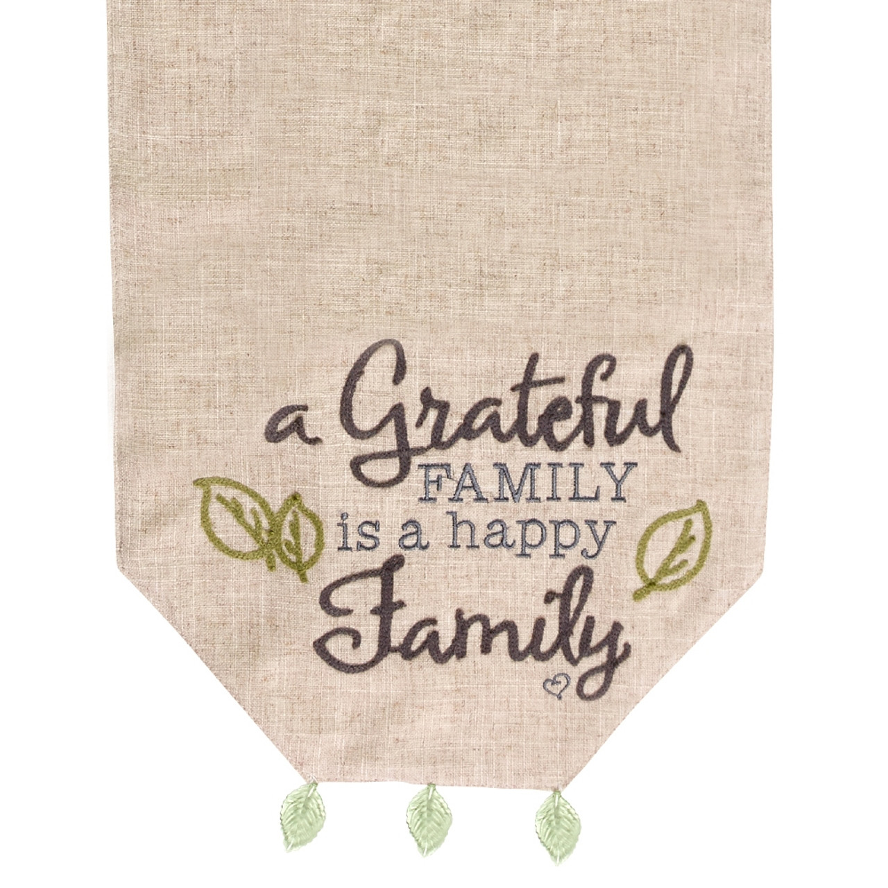 Thanksgiving Gifts A Grateful Family Is A Happy Family Table Runner Polyester Fabric 191411