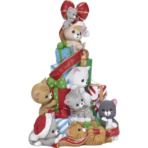 Precious Moments 181111 We Wish You a Merry Christmas Cats and Mouse LED Tree Musical Box