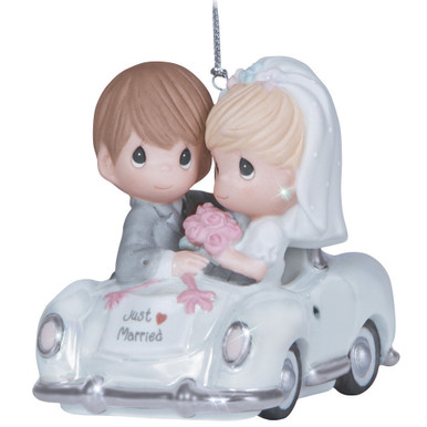 Precious Moments Bisque Porcelain Ornament, Just Married