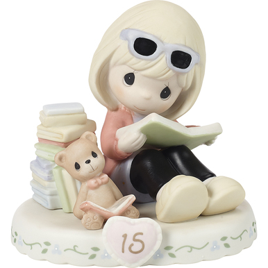Precious Moments Bisque Porcelain Figurine, Growing In Grace, Age 15, Blonde Girl