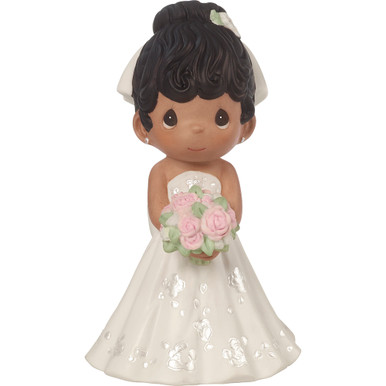 Precious Moments Bisque Porcelain Figurine, Mix and Match Wedding Cake Topper/Bride, Black Hair, Dark Skin Tone