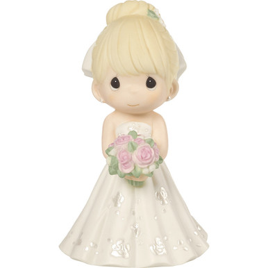 Precious Moments Bisque Porcelain Figurine, Mix and Match Wedding Cake Topper/Bride, Blonde Hair, Light Skin Tone Porcelain
