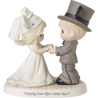 Disney Showcase Collection Bisque Porcelain Figurine, Wedding Couple, Happily Ever After With You
