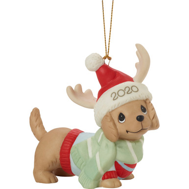 Precious Moments Bisque Porcelain Ornament, Dachshund Through The Snow 2020 Dated Dog