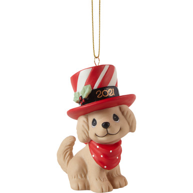 Precious Moments Bisque Porcelain Ornament, We Woof You A Merry Christmas 2021 Dated Dog