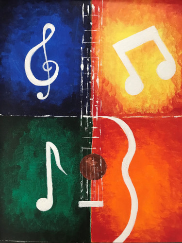 Musical vibes.-Acrylic on Canvas painting- Buy art- Artswel online art gallery
