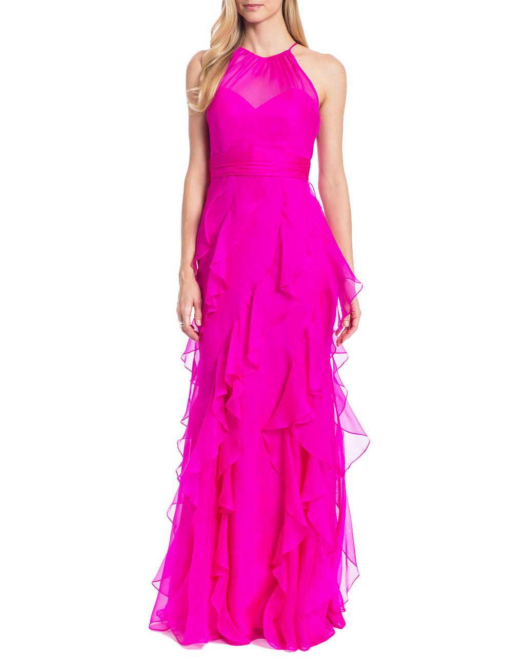 2cb2829f929a Organza Ruffle Skirt Evening Gown by Badgley Mischka
