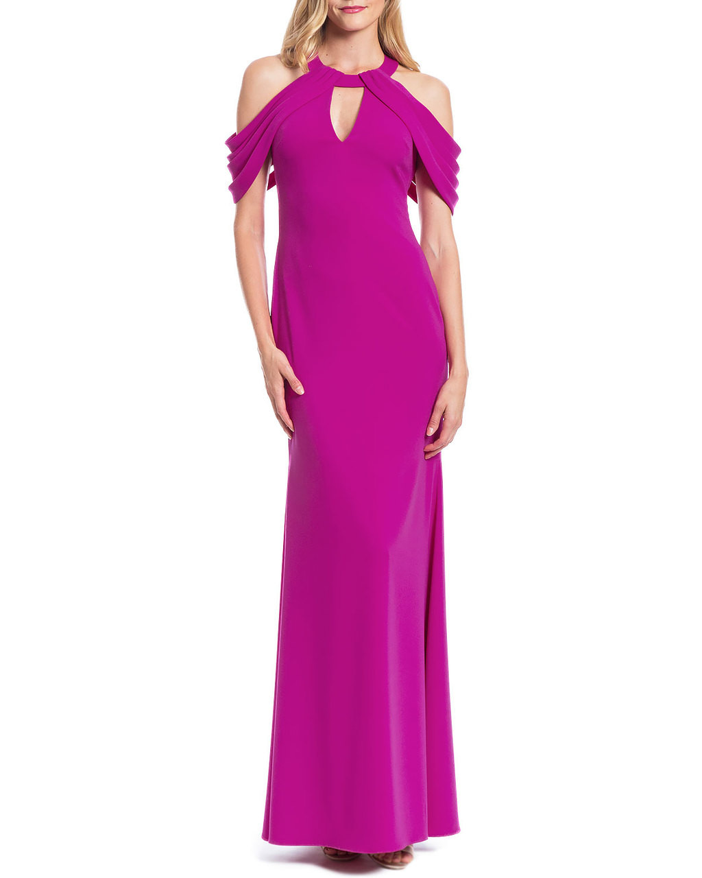 b6953e10a99 Loop-Shoulder Evening Gown by Badgley Mischka