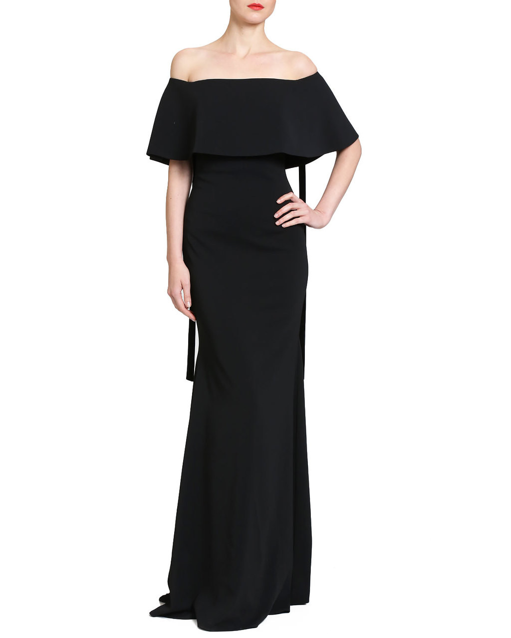 4312028f7981 Runway Ribbon Laces Cape Evening Gown by Badgley Mischka