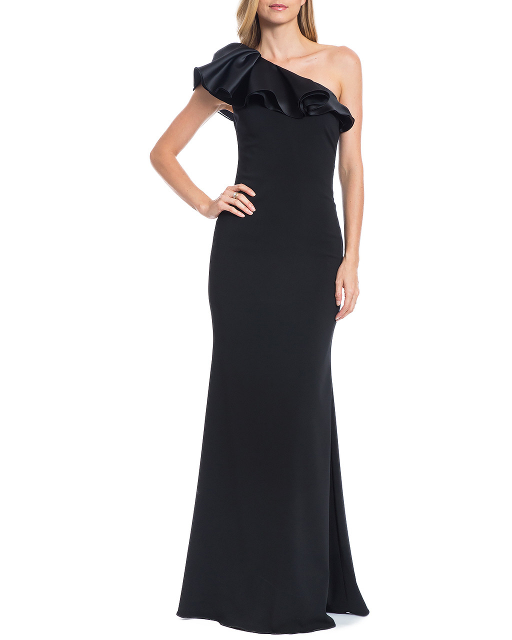 18261adff218 One-Shoulder Ruffle Evening Gown by Badgley Mischka
