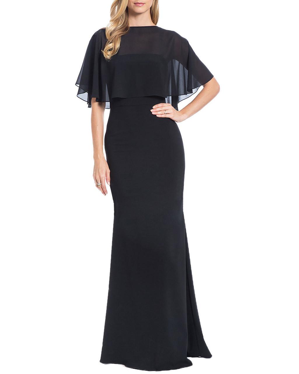 2558ccbd8e3 Chiffon Cape Evening Gown by Badgley Mischka