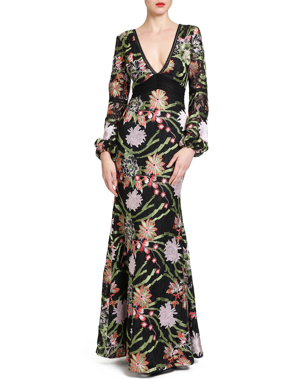 a64d6882ae Boho Floral Crochet Lace Evening Gown by Badgley Mischka