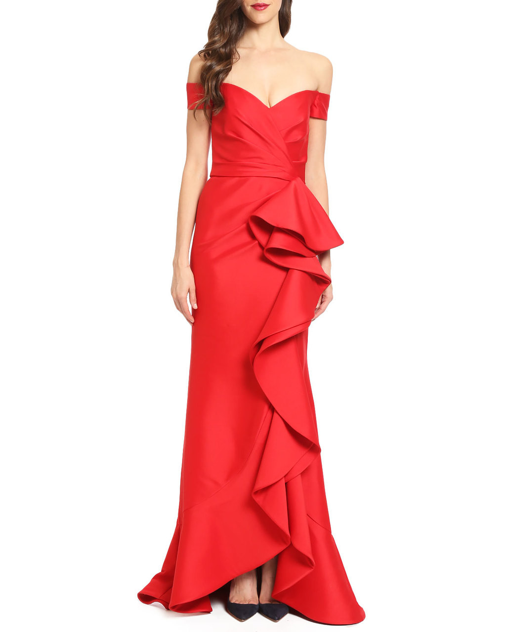 c3d41f94227a6 Off-the-Shoulder Ruffle Evening Gown by Badgley Mischka