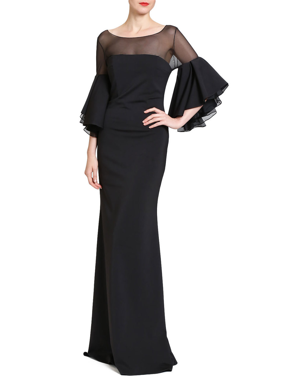 85ef4e6ed21d7 Ruffle Bell Sleeve Evening Gown by Badgley Mischka