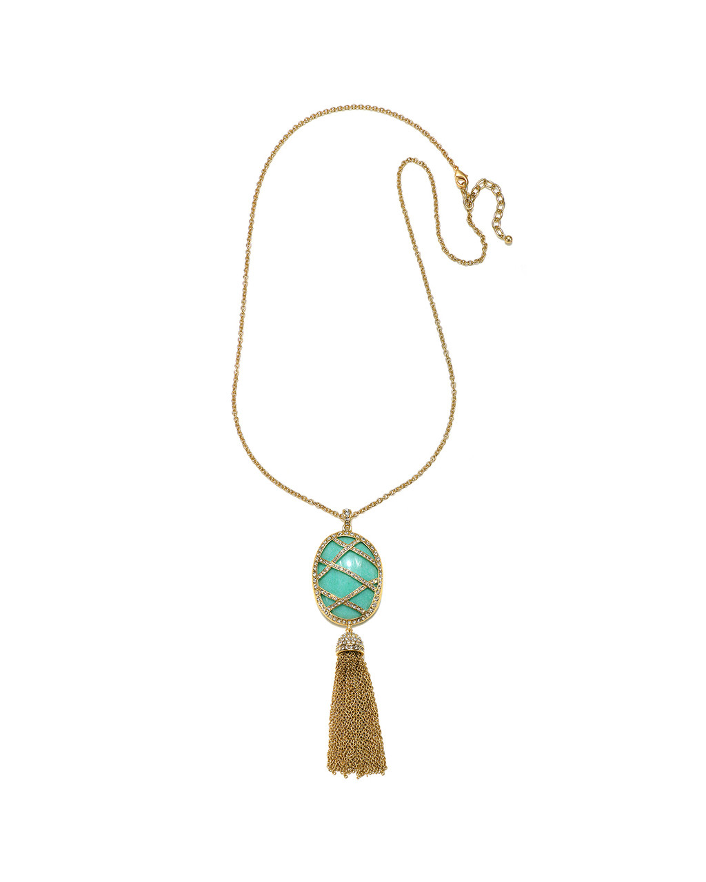 da723f75a8113 Caged Jade Stone Tassel Necklace