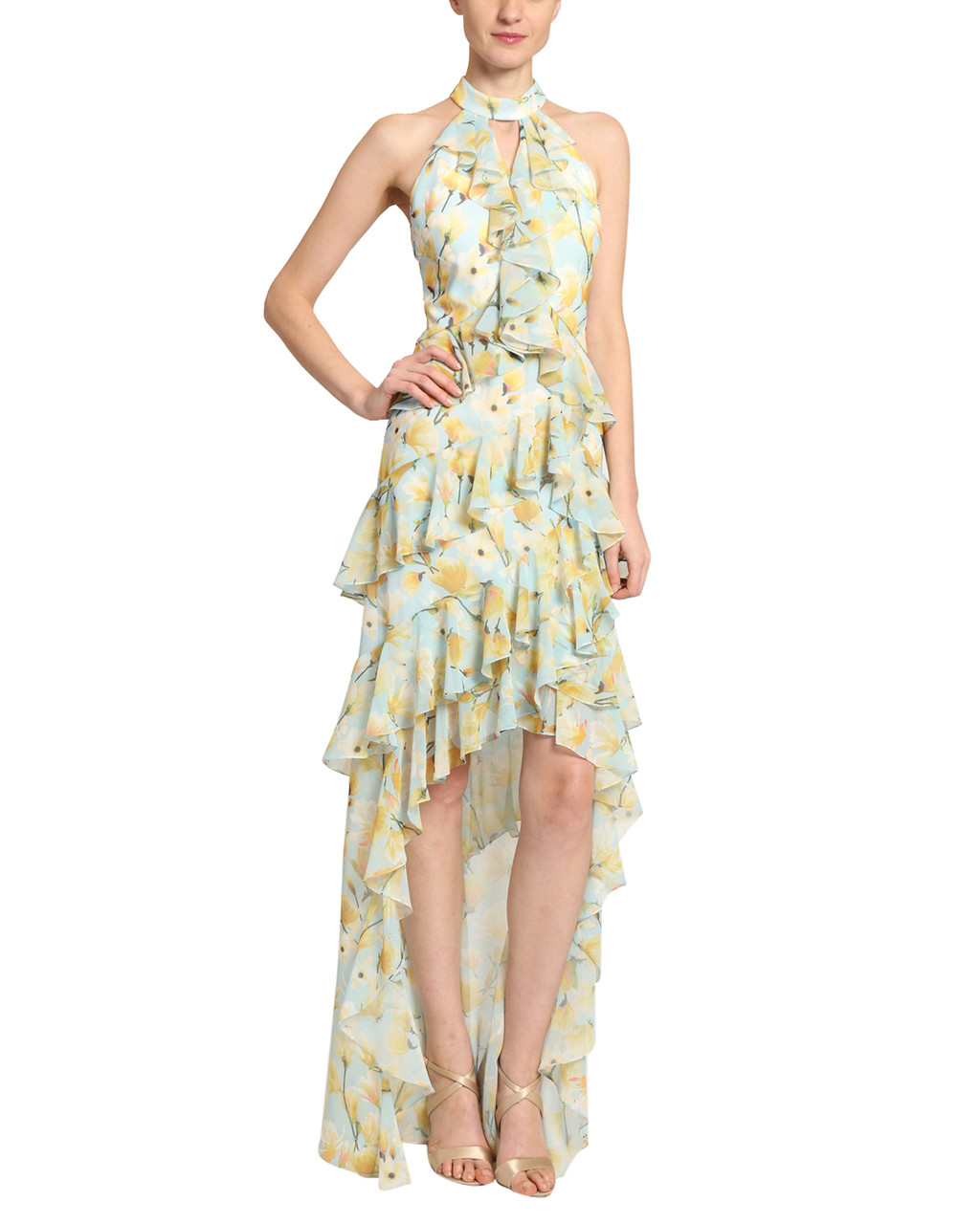 e767cee1 Floral Print Ruffle Georgette High Low by Badgley Mischka