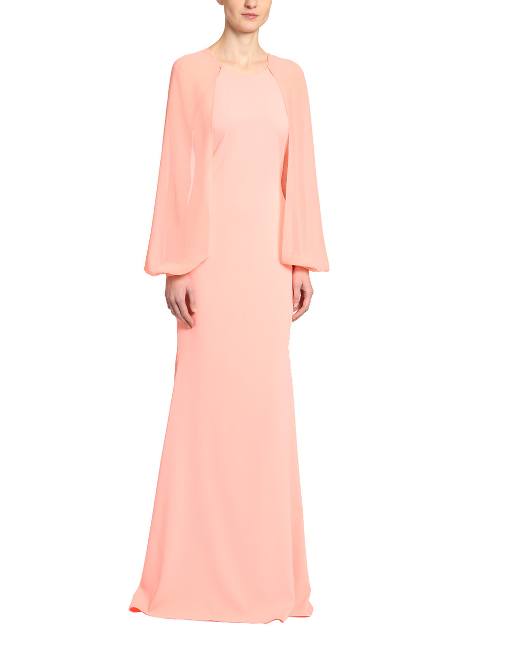 fc3ba0ae847 Georgette Sleeve Gown With Crepe Body by Badgley Mischka