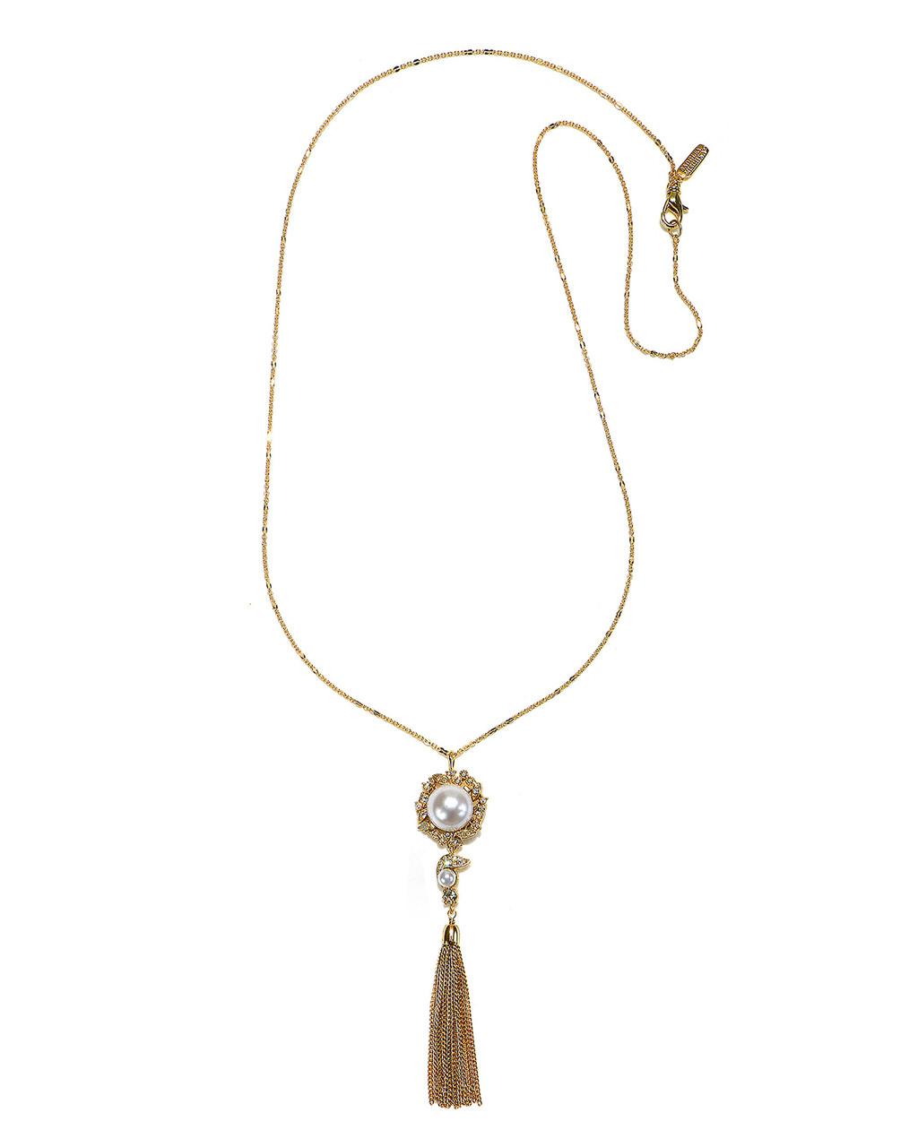 d9af61e0c44d0 Oversize Pearl & Stone Tassel Long Gold Necklace