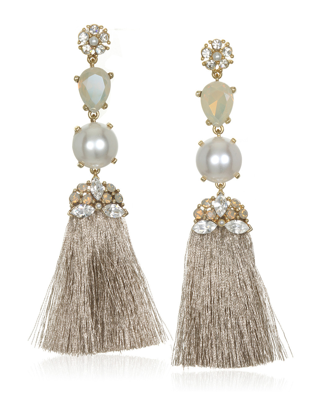 e1cc8162e Crystal & Pearl Encrusted Tassel Earring by Badgley Mischka