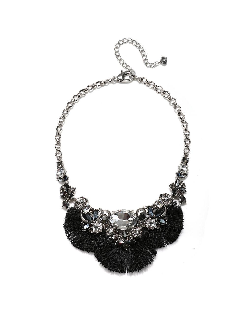 4a7ed756f0df4 Black Tassel & Stone Silver Necklace
