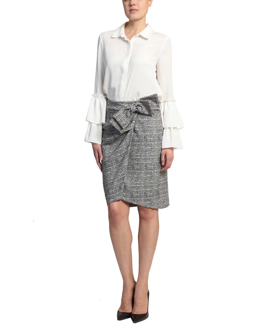 7c5259267e9 Black Multi Herringbone Wrap Skirt Alt Front