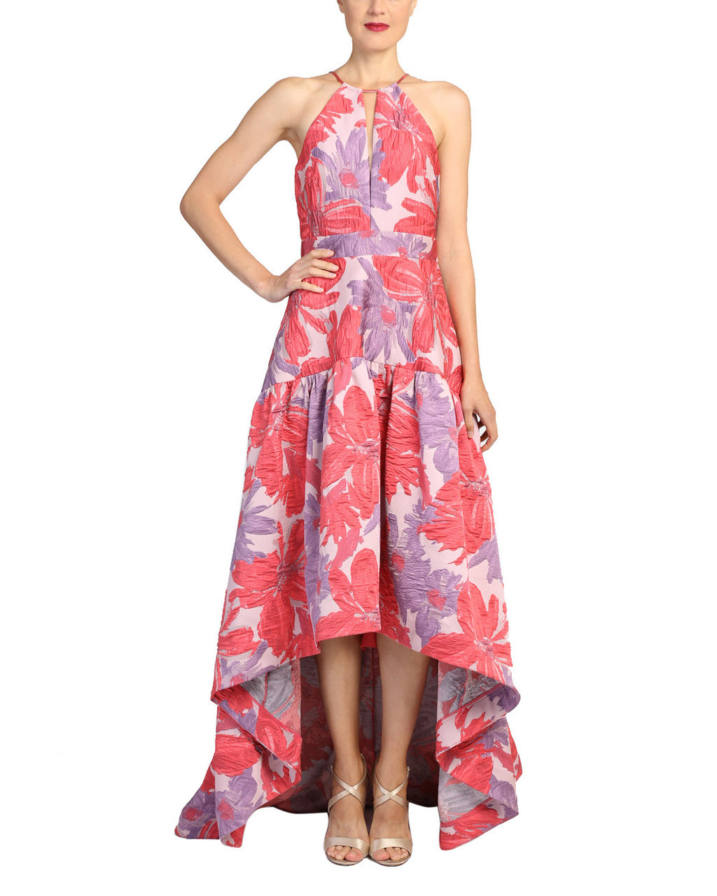 dc7d9c393dbd1 High-Low Floral Print Gown by Badgley Mischka