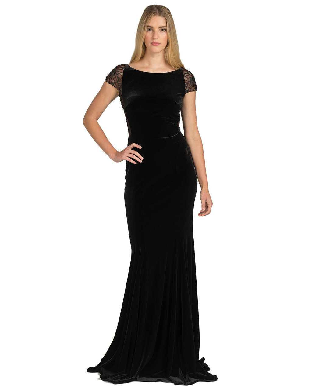 2f904aaabb30 Cap-Sleeve Velvet Lace Evening Gown by Badgley Mischka