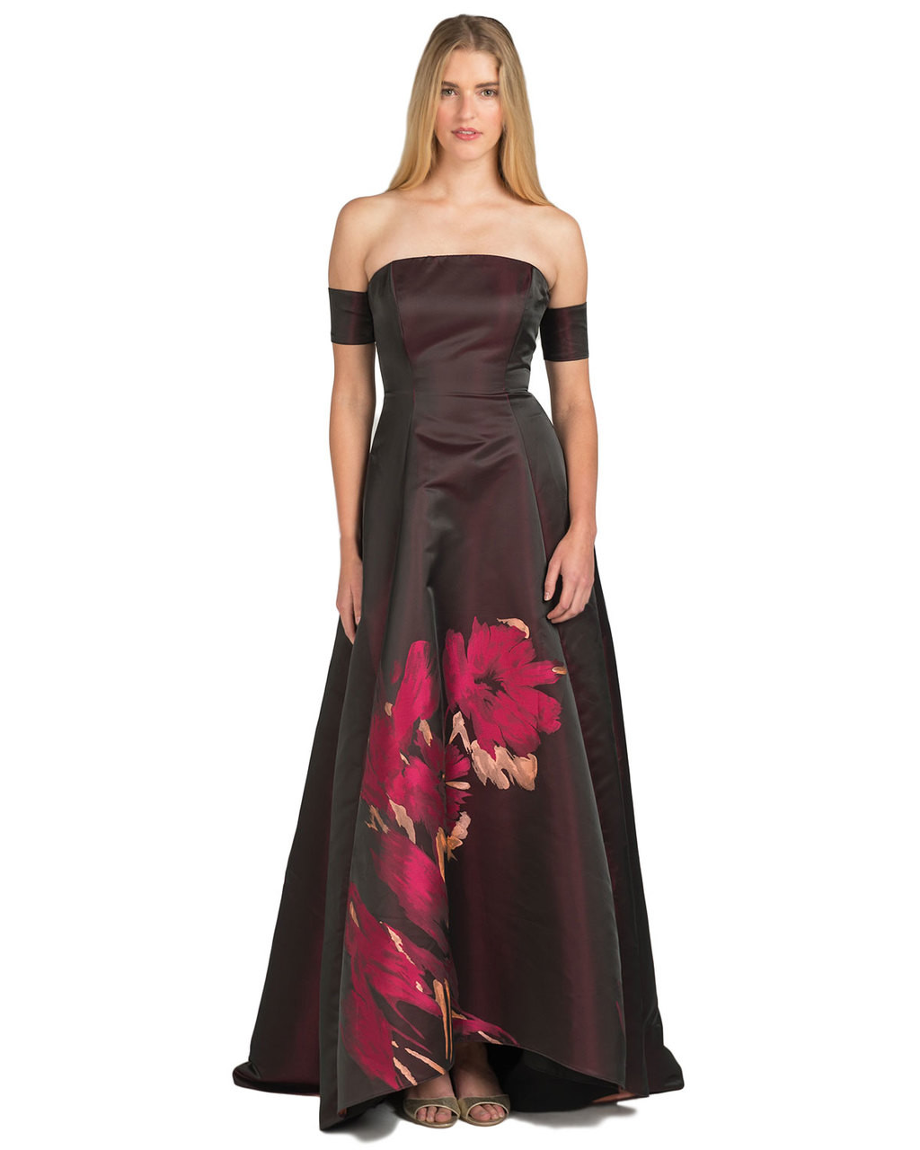 0f840c301da82 Off-Shoulder Floral Evening Gown by Badgley Mischka