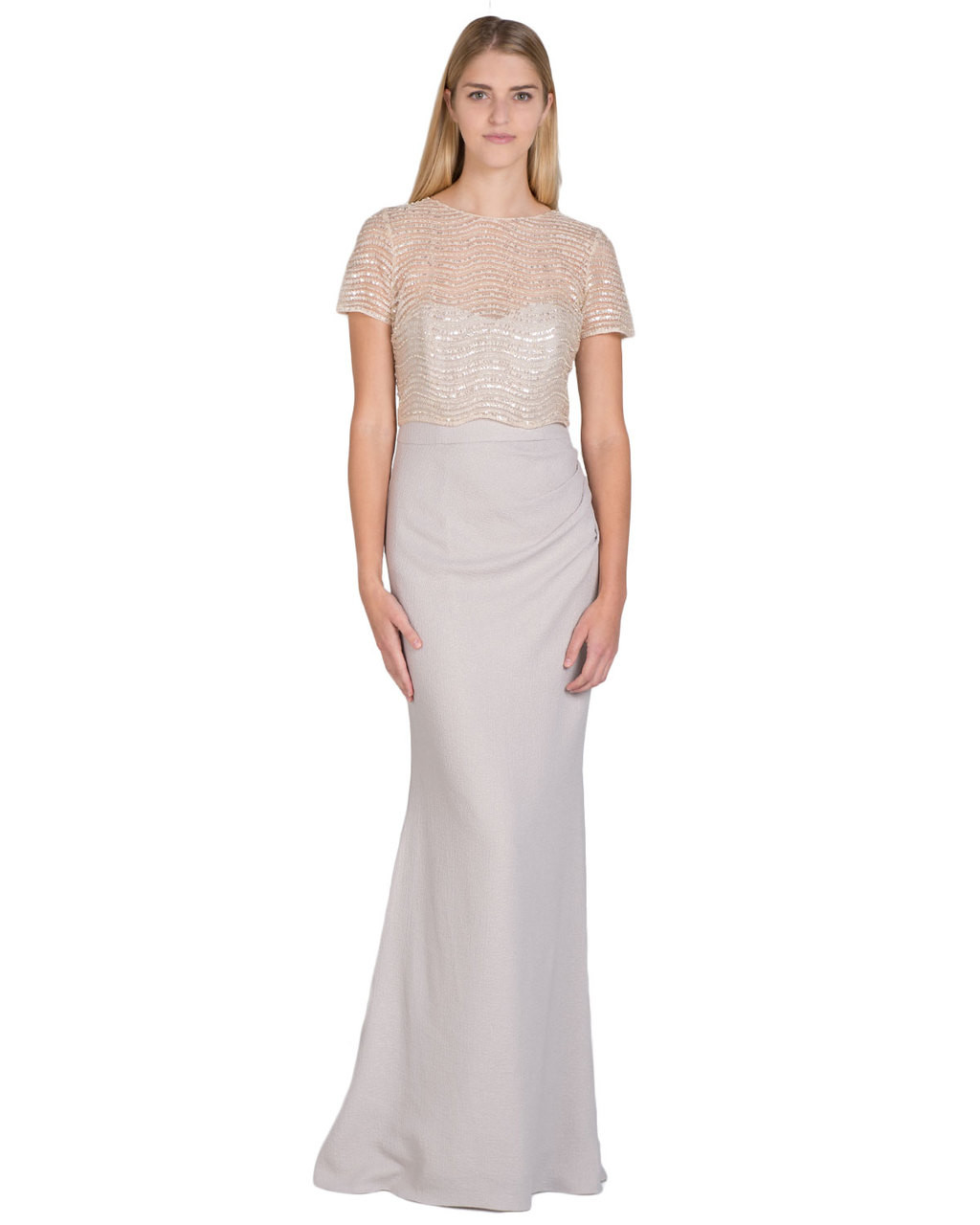 3e44c4a5d6d9 Wave Beaded Bodice Evening Gown by Badgley Mischka