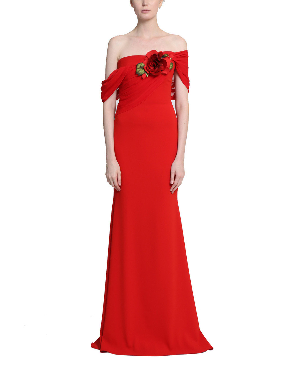 06cabccb728 Off the Shoulder Chiffon Gown by Badgley Mischka