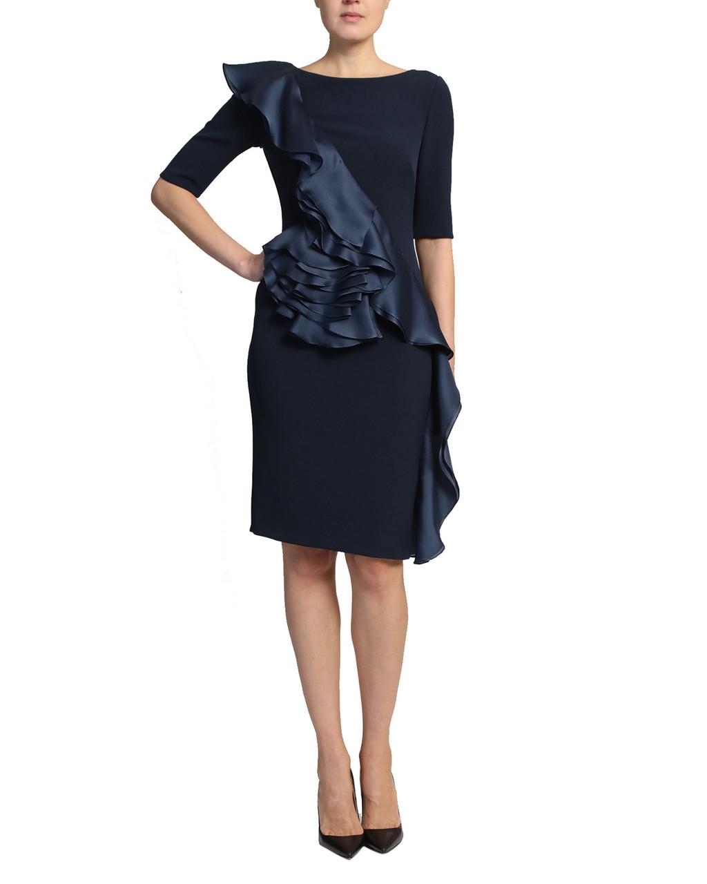 037e472bcf8 Navy Silk Asymmetrical Ruffle Three Quarter Length Sleeve Cocktail Dress