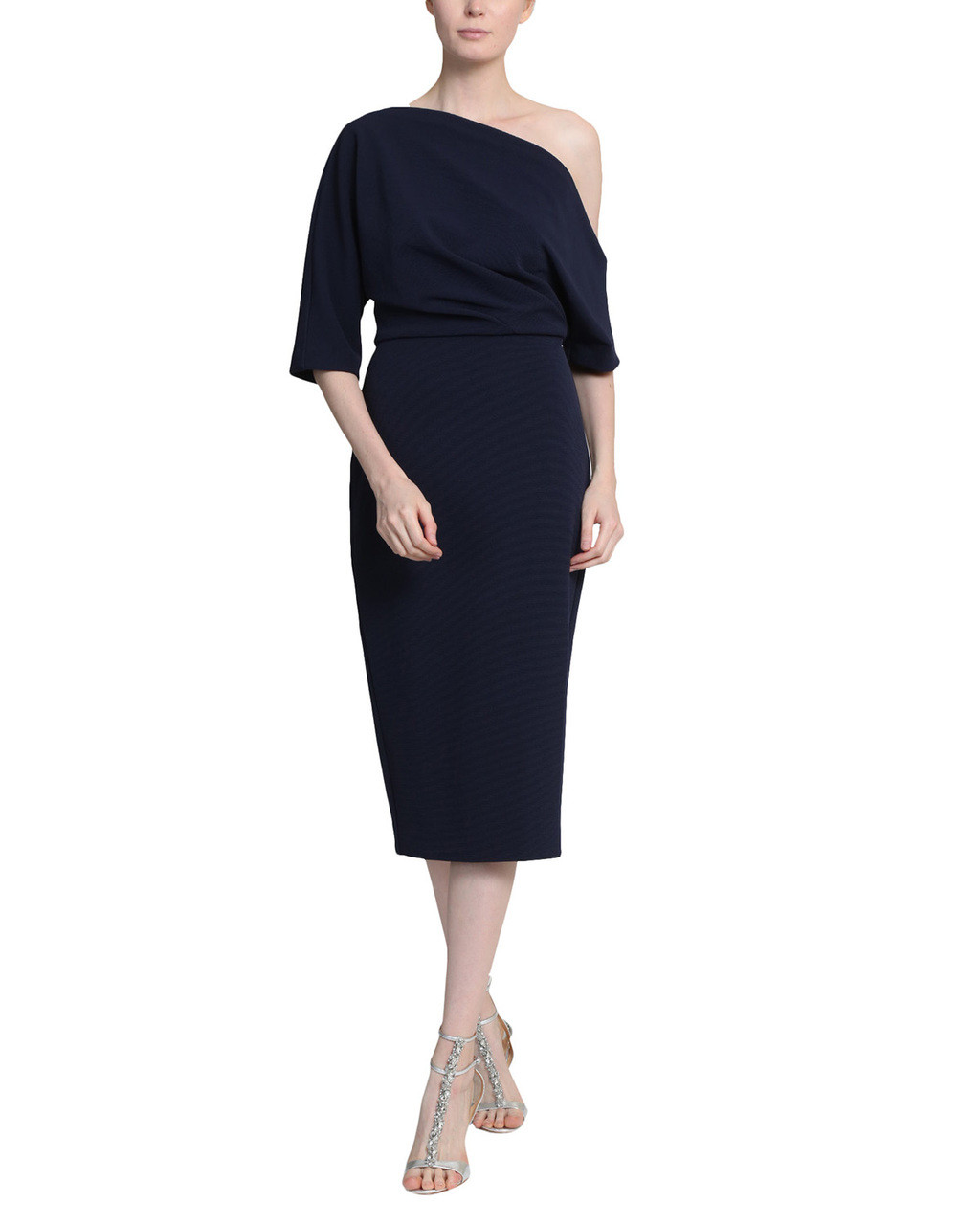 f10554d06b8c Navy One Shoulder Three Quarter Length Sleeves Cocktail Dress