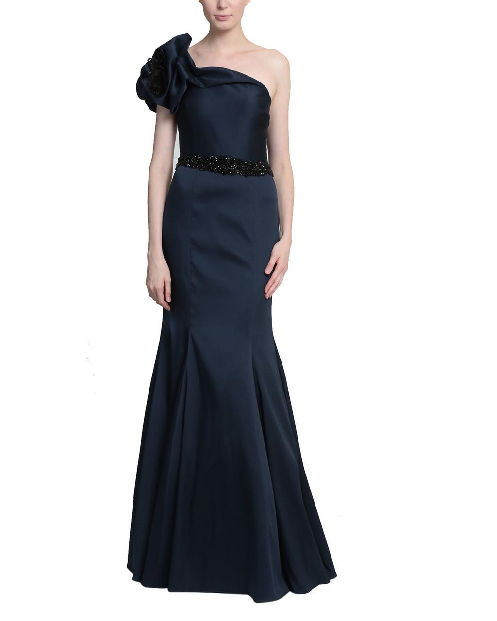 457755e390 Black One Shoulder Gown with large embellished flower on shoulder and embellished  belt at waist