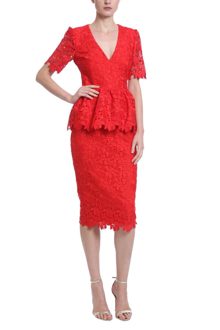 78033d77bdc Lace Peplum Cocktail Dress by Badgley Mischka
