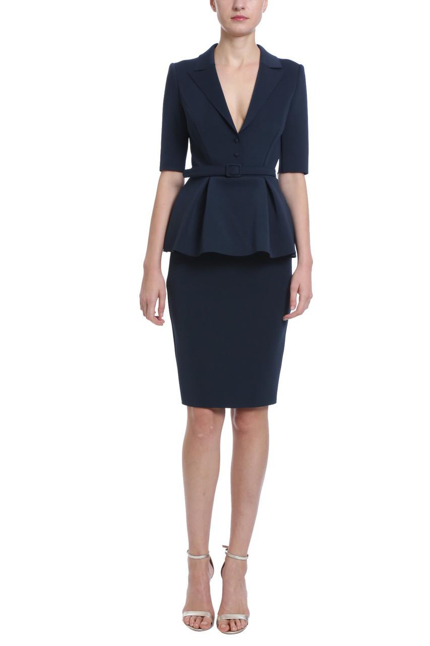 75f37cddef61 navy peplum neoprene belted shirt dress with plunging neckline, pencil skirt,  three quarter length