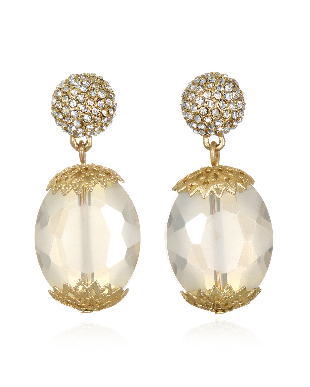 1be3b8229a211 Faceted Crystal Oval Bead Drop Earrings