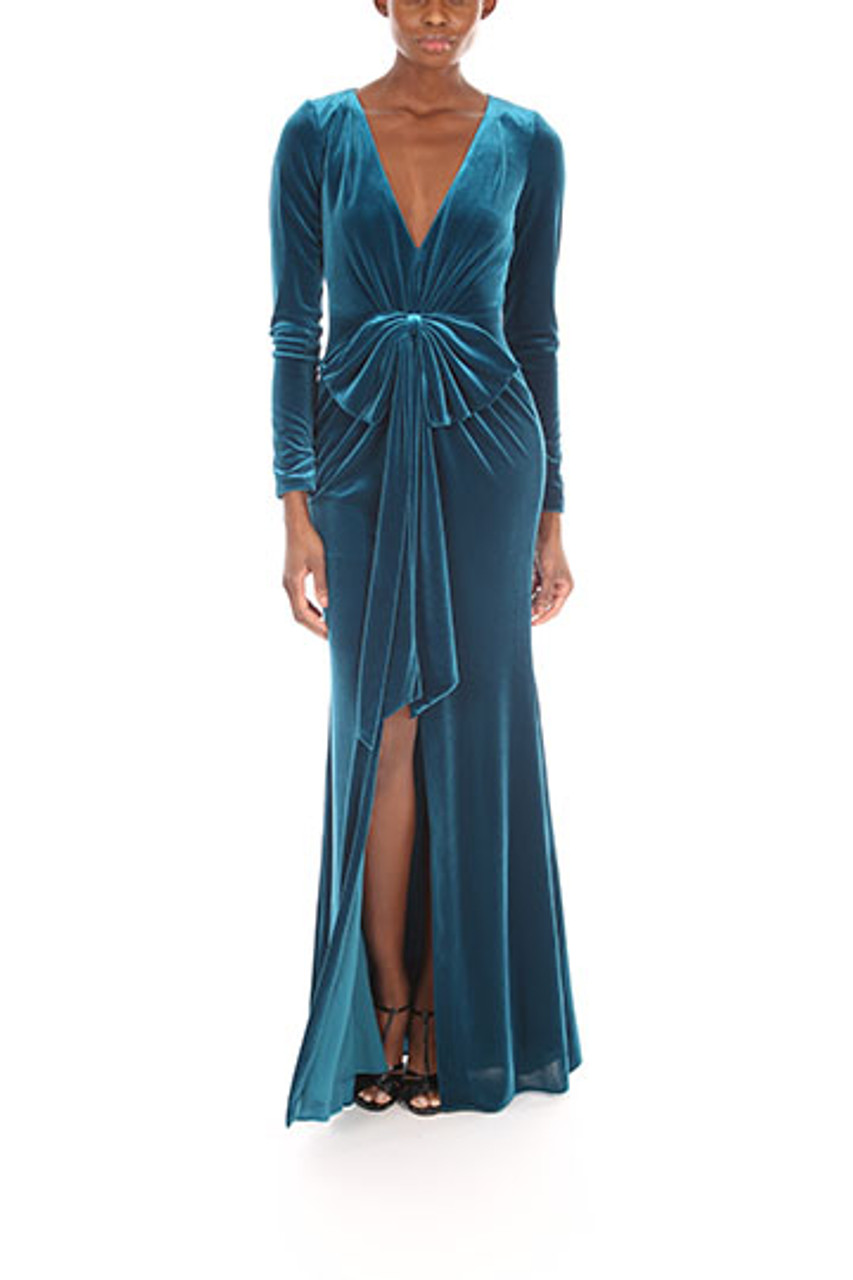 Long Sleeve Bow Front Velvet Dress By Badgley Mischka
