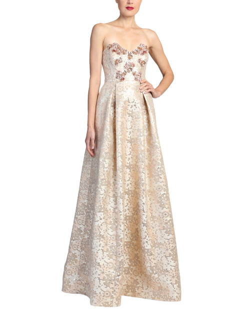 b697b5077e43 Beaded Cuff Scoop Neck Evening Gown. $990.00. $495.00. Rose Gold Multi  Strapless ballgown
