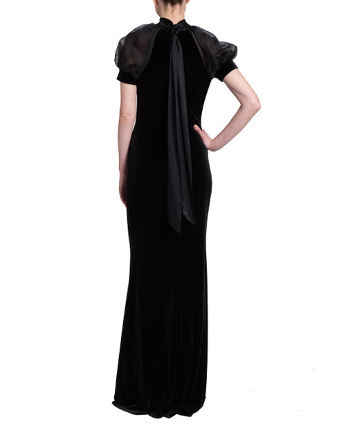 537e3203e141 Velvet Gown with Organza Puff Sleeve by Badgley Mischka