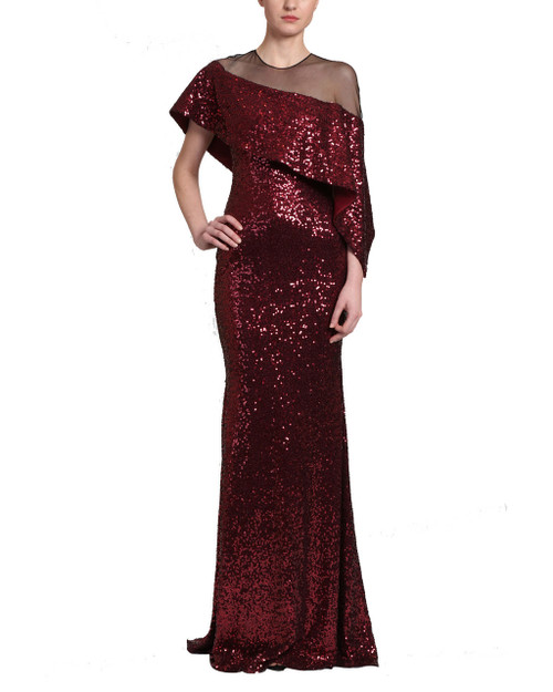 02e472bd3d Asymmetrical Cape Gown by Badgley Mischka