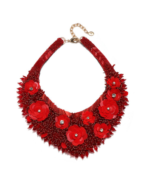 437a57014f Flower Seed Bead Bib Necklace color as shown