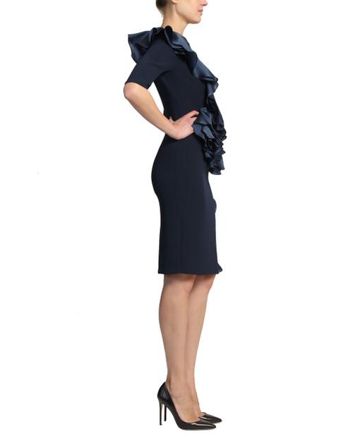 22ab532a045 ... Navy Silk Asymmetrical Ruffle Three Quarter Length Sleeve Cocktail Dress  ...